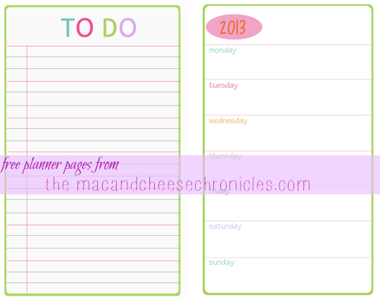 Free 2013 Planner Pages