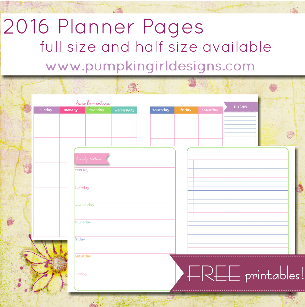 2016 Free Planner Pages