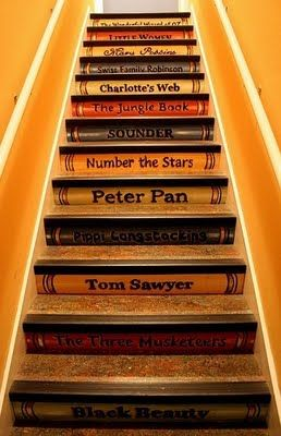 Paint Books on the stairs