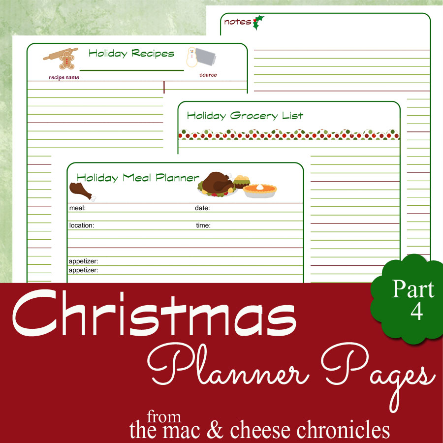 Christmas Meal Planning Pages
