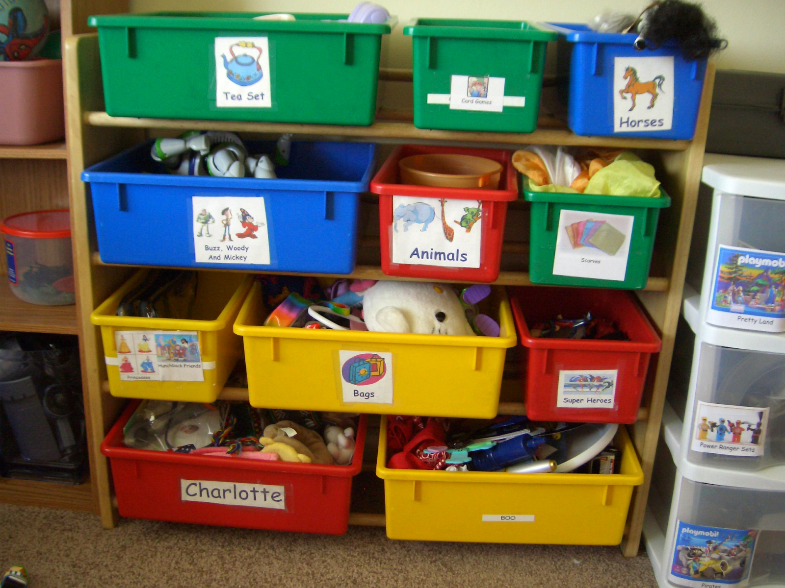 Image result for labeled toy containers
